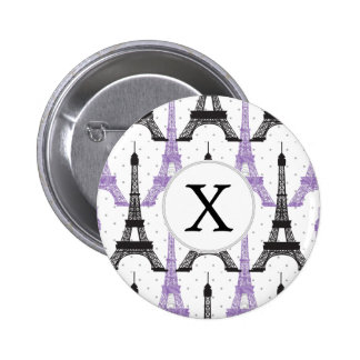 Monogram Purple Chic Eiffel Tower Pattern Button