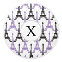 Monogram Purple Chic Eiffel Tower Pattern Ceramic Knob