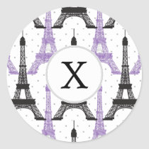 Monogram Purple Chic Eiffel Tower Pattern Classic Round Sticker