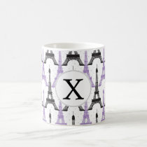Monogram Purple Chic Eiffel Tower Pattern Coffee Mug