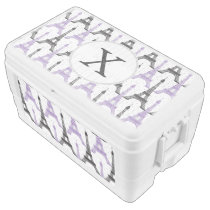 Monogram Purple Chic Eiffel Tower Pattern Cooler