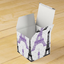 Monogram Purple Chic Eiffel Tower Pattern Favor Box