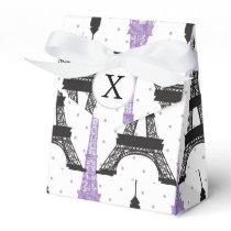 Monogram Purple Chic Eiffel Tower Pattern Favor Box