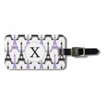 Monogram Purple Chic Eiffel Tower Pattern Luggage Tag