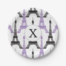 Monogram Purple Chic Eiffel Tower Pattern Paper Plate
