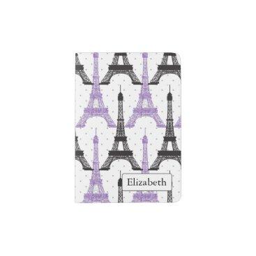 Monogram Purple Chic Eiffel Tower Pattern Passport Holder