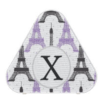 Monogram Purple Chic Eiffel Tower Pattern Speaker