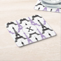 Monogram Purple Chic Eiffel Tower Pattern Square Paper Coaster