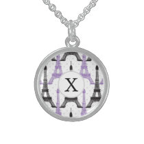 Monogram Purple Chic Eiffel Tower Pattern Sterling Silver Necklace