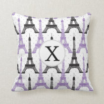 Monogram Purple Chic Eiffel Tower Pattern Throw Pillow