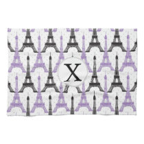 Monogram Purple Chic Eiffel Tower Pattern Towel