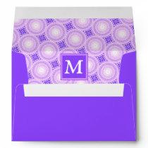 Monogram purple circles pattern envelope