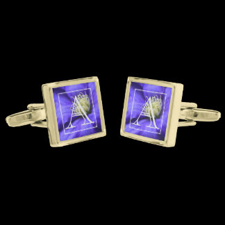 Monogram Purple Clematis / Wildflower Personalized Gold Cufflinks