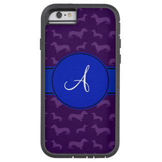 Monogram purple dachshund blue circle tough xtreme iPhone 6 case