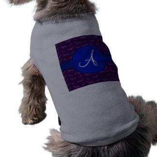 Monogram purple dachshund blue circle pet shirt