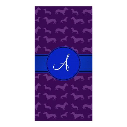 Monogram purple dachshund blue circle photo card