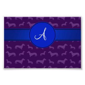Monogram purple dachshund blue circle photographic print