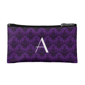 Monogram purple damask cosmetic bag