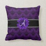 Monogram purple damask daisy flower throw pillows