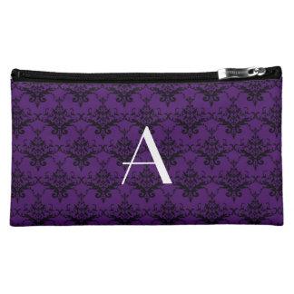 Monogram purple damask makeup bag