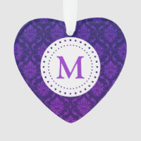 Monogram Purple Damask Ornament