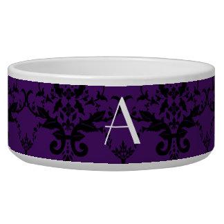 Monogram purple damask dog bowl