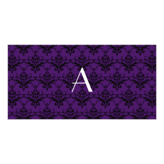 Monogram purple damask photo card