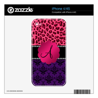 Monogram purple damask pink leopard decals for the iPhone 4S