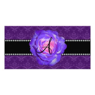 Monogram purple damask purple rose photo card