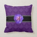 Monogram purple damask purple rose throw pillows