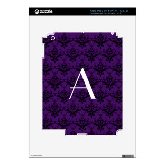 Monogram purple damask decals for iPad 3