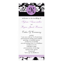 monogram purple damask Wedding program