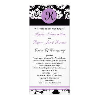 monogram purple damask Wedding program