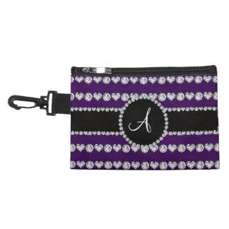 Monogram purple diamond hearts stripes accessories bags