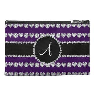 Monogram purple diamond hearts stripes travel accessories bags