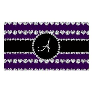 Monogram purple diamond hearts stripes business card