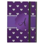 Monogram purple diamonds hearts iPad cover