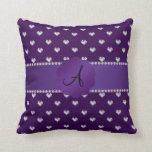 Monogram purple diamonds hearts throw pillow