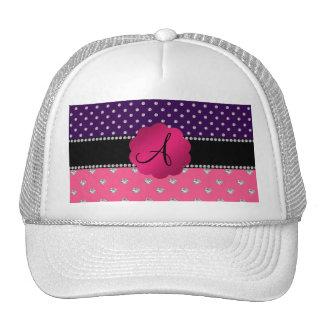 Monogram purple diamonds pink hearts hats