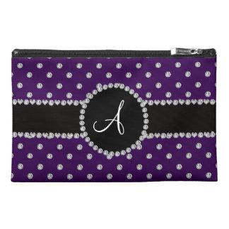 Monogram purple diamonds polka dots travel accessories bag