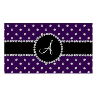 Monogram purple diamonds polka dots business card
