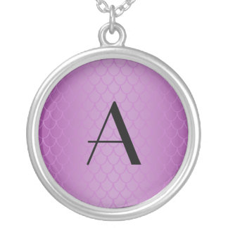 Monogram purple dragon scales round pendant necklace