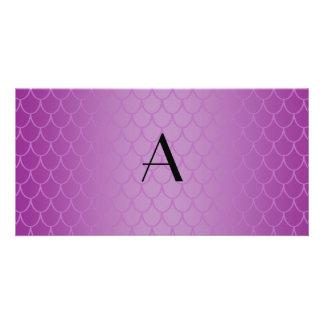 Monogram purple dragon scales custom photo card