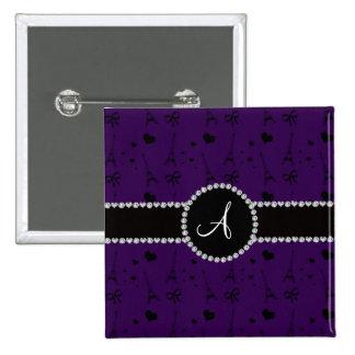 Monogram purple eiffel tower pattern 2 inch square button