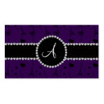 Monogram purple eiffel tower pattern Double-Sided standard business cards (Pack of 100)