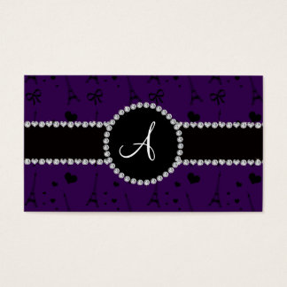 Monogram purple eiffel tower pattern business card