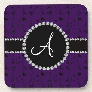 Monogram purple eiffel tower pattern coasters