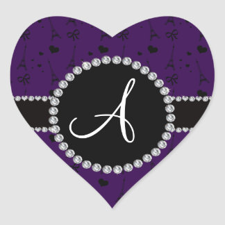 Monogram purple eiffel tower pattern heart sticker