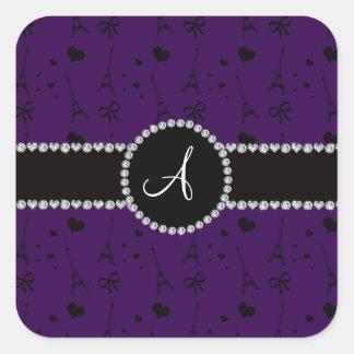 Monogram purple eiffel tower pattern square sticker