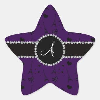 Monogram purple eiffel tower pattern star sticker